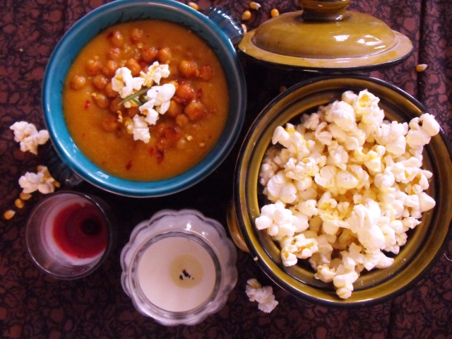 apricot glazed roasted butternut squash, chickpea, rosemary, harrissa hot sauce soup and salty nooch popcorn served with roasted chickpeas