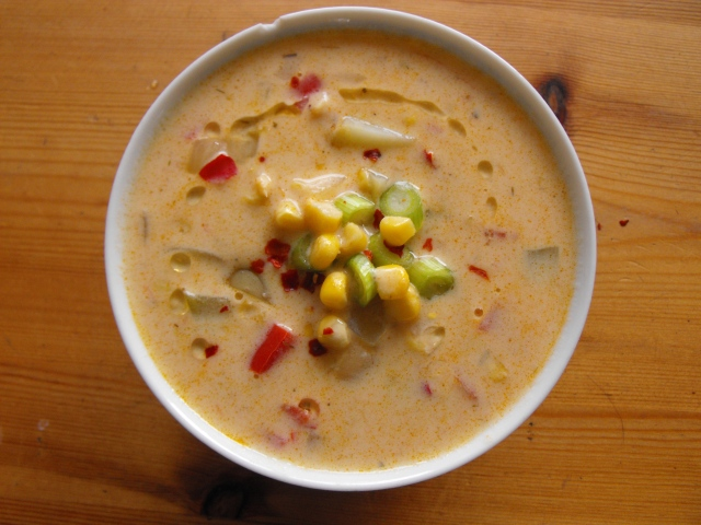 Chilli-lime sweetcorn chowder.