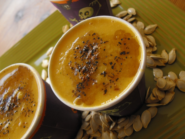 Happy Halloween! sesame orange and ginger roasted pumpkin soup!