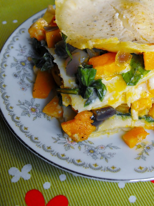 Roasted onion squash and spinach white lasagne