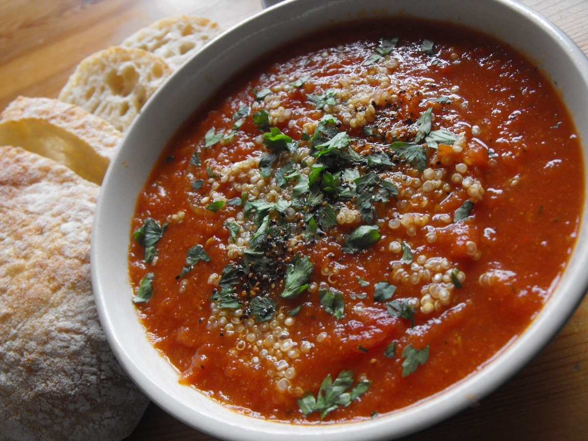 No added fat, Indian spiced tomato soup served over quinoa. – In ...