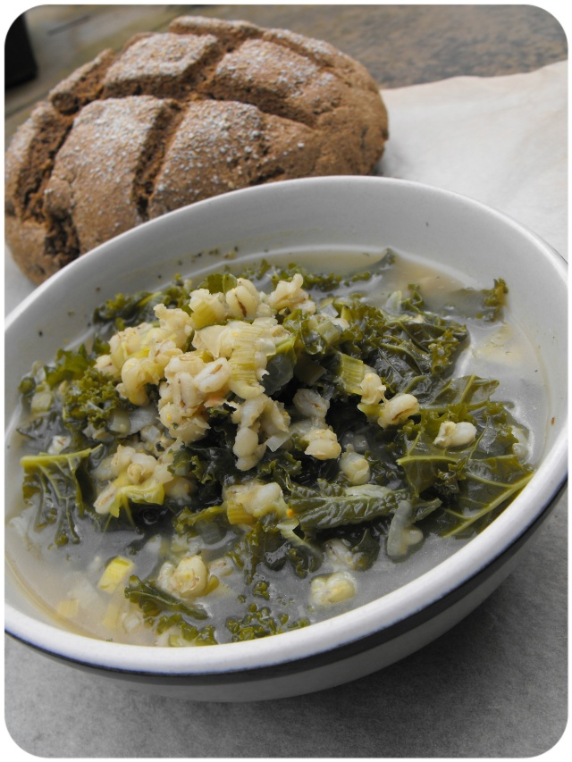Leek, kale and barley broth.