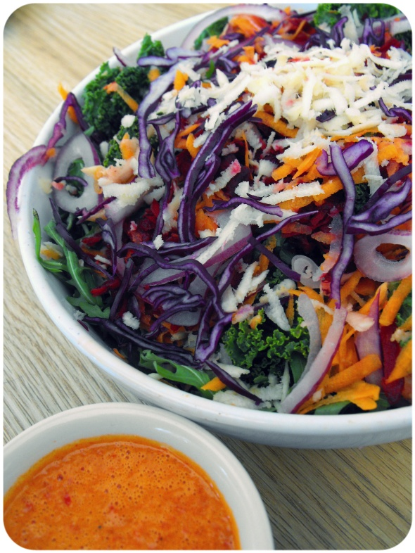 rainbow kale salad vegan orange red pepper dressing