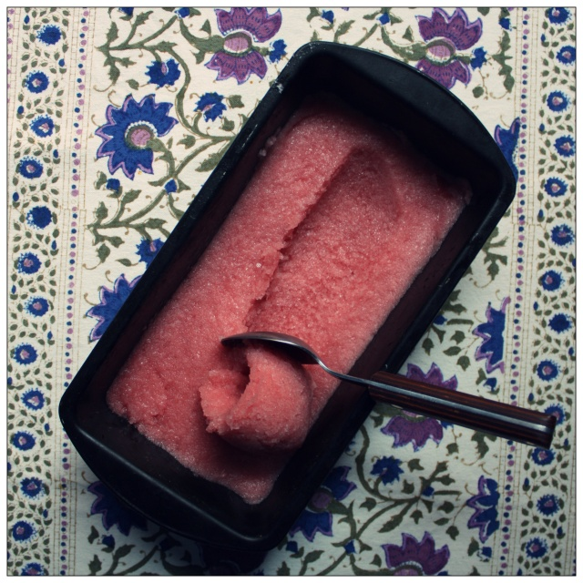 pomegranate, lime and rose sorbet